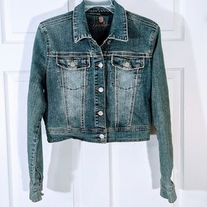 Distressed Cropped denim jacket by Younique large